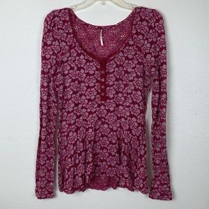 Free People Floral Lace Henley Peplum Top Blouse L